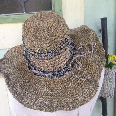 アフガン編みのヘンプコットンハット ミックスカラー つば広めタイプ
