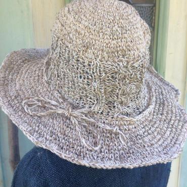 ヘンプコットンのケーブル編みハット プレーンカラー
