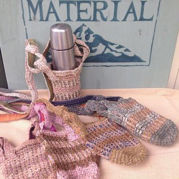 アフガン編みの草木染めスマホ&ボトルホルダー