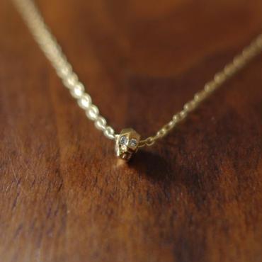 ドクロネックレス K18YG・ダイヤモンド