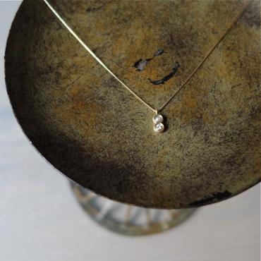 ボール2粒ネックレス K18YG×ダイヤモンド&パール