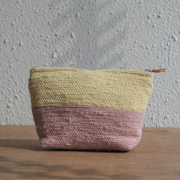 大谷房子 裂き織りのポーチ 生成り×ピンク系