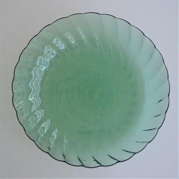 津田清和 ねじり菊大皿 青緑