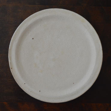 坪井俊憲 ひび粉引き 八寸リム皿