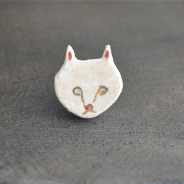 大島奈王 猫ブローチ 顔 平面  (ピンブローチ)