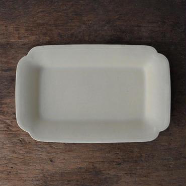 Awabi ware 角切長方皿 アイボリー
