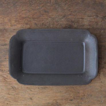 Awabi ware 角切長方皿 黒マット
