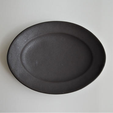 Awabi ware オーバル皿 M 黒マット