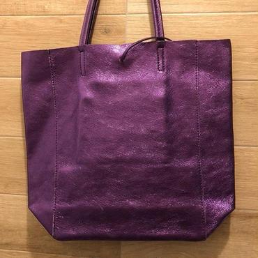 talian Leather shiny metallic tote bag イタリアン レザーメタリック シャイニートートバッグL