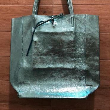 Italian Leather shiny metallic tote bag イタリアン レザーメタリック シャイニートートバッグL