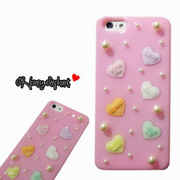 candy heart  iPhone SE/5s/5ケース アイスピンク