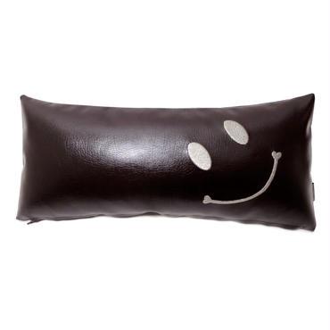 ニコちゃんクッションカバースマイル刺繍 45×20 ダークブラウン