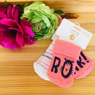 新生児サイズの小さな靴下 2足組 ピンク