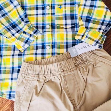 Carter's チェックシャツ&パンツセット 24M