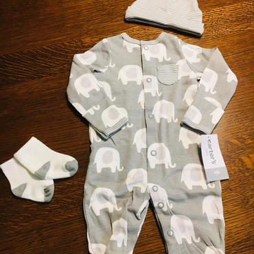 ゾウさんカバーオール 新生児サイズ+中に着られる肌着セット