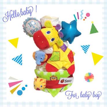 名入れ可能 人気のサッシータオル&ブライトスターズおもちゃ付き♪ 3段おむつケーキ for baby boy