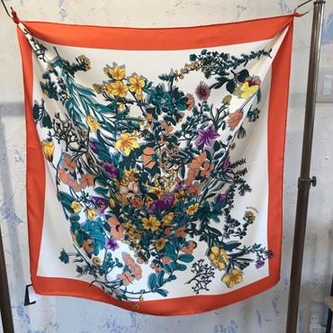 manipuri18 silk scarf flower  65×65