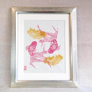 金魚版画 2対の金魚