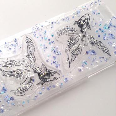 【オーダー受注 送料無料】金魚 貝のブルーキラキラ スマホケース