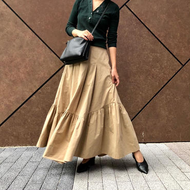 gather volume long Skirt-beige-
