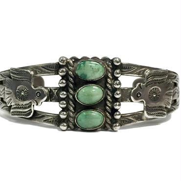 3 Point Turquoise Thunderbird Bracelet / Fred Harvey Style