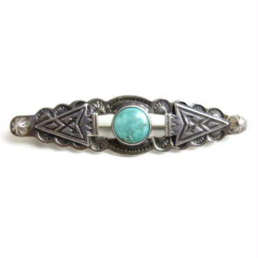 Turquoise Arrow Head Side Shell Pin / Fred Harvey Style