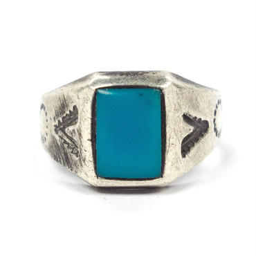 Square Turquoise Ring / Fred harvey Style