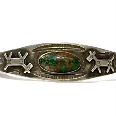 Turquoise Horse Eagle Feather Bracelet / Fred Harvey Style