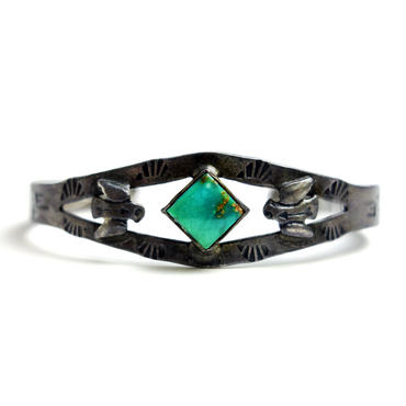 Small Thunderbird Diamond Turquoise Bracelet / Fred Harvey Style