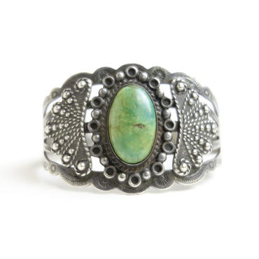 Green Turquoise Fine Bracelet / Fred Harvey Style