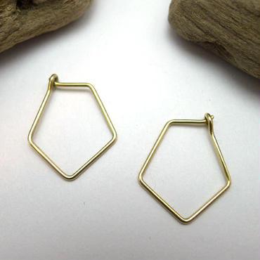 ペア 五角形ピアス 真鍮製 ハンドメイド