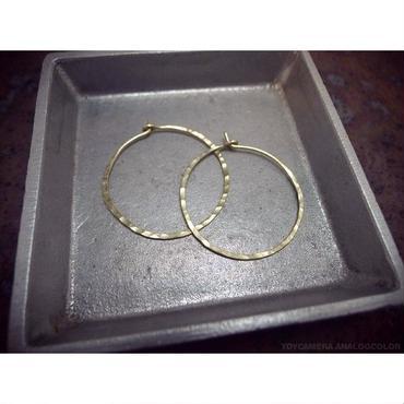 真鍮製 ビックフープピアス 小さいサイズ 直径約37mm