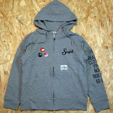 So Glad SKULL Zip Parka H・Gray