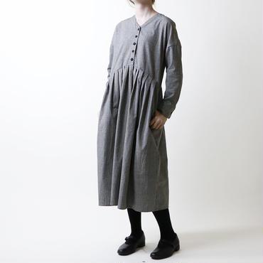 コットンリネン・グレンチェック・ワンピース/グレー