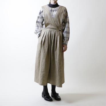 グランジウォッシュ リネン・エプロン・ワンピース/ベージュ