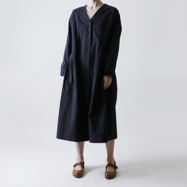 Vネック・コート・ワンピース/ブラック