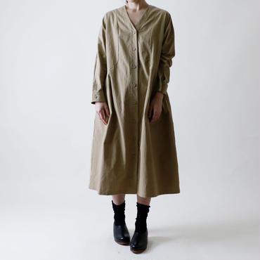 <受注販売>Vネック・コート・ワンピース/ベージュ