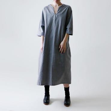 ヘリンボン・スキッパー・ワンピース/グレー