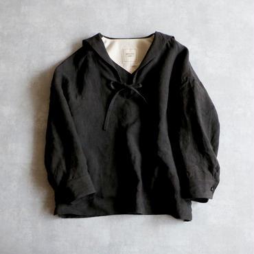 <予約販売>セーラーカラー・リネン・ブラウス/ブラック