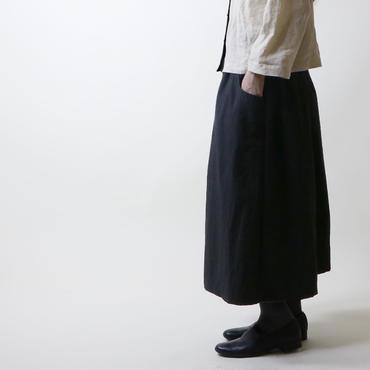 硫化染めコットン・ギャザースカート/ブラック