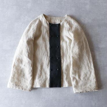 天日干しリネン・ダブルボタン・シャツジャケット/アイボリー