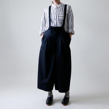<受注販売>サロペット・ワイドタック・パンツ/ブラック