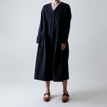 <受注販売>Vネック・コート・ワンピース/ブラック