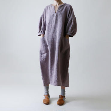 タックスリーブ・リネン・ワンピース/グレイッシュ・ラベンダー