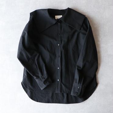 硫化染めコットン・スクエアカラー・ブラウス/ブラック