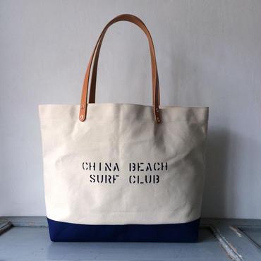 """CHINA BEACH SURF CLUB"" ステンシル入り日本製生成り帆布トートIND_BNP_0206"