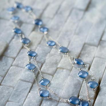 スターリングシルバージュエリー ドロップストーン ネックレス Blue Calsodoni