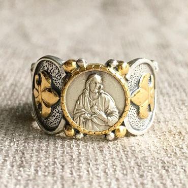 Jesusシルバーメダル&ダイヤモンド シルバー&18Kゴールドリング SACRED HEART(RMD1014)