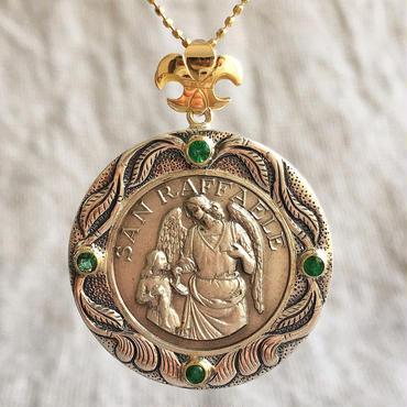 Raphaelシルバーメダル&エメラルド シルバー&18Kゴールドペンダントトップ  HEAL(PMD1009)