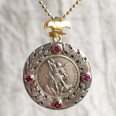 Michaelシルバーメダル&ロードライトガーネット シルバー&18Kゴールドペンダントトップ  FLAME(PMD1010)